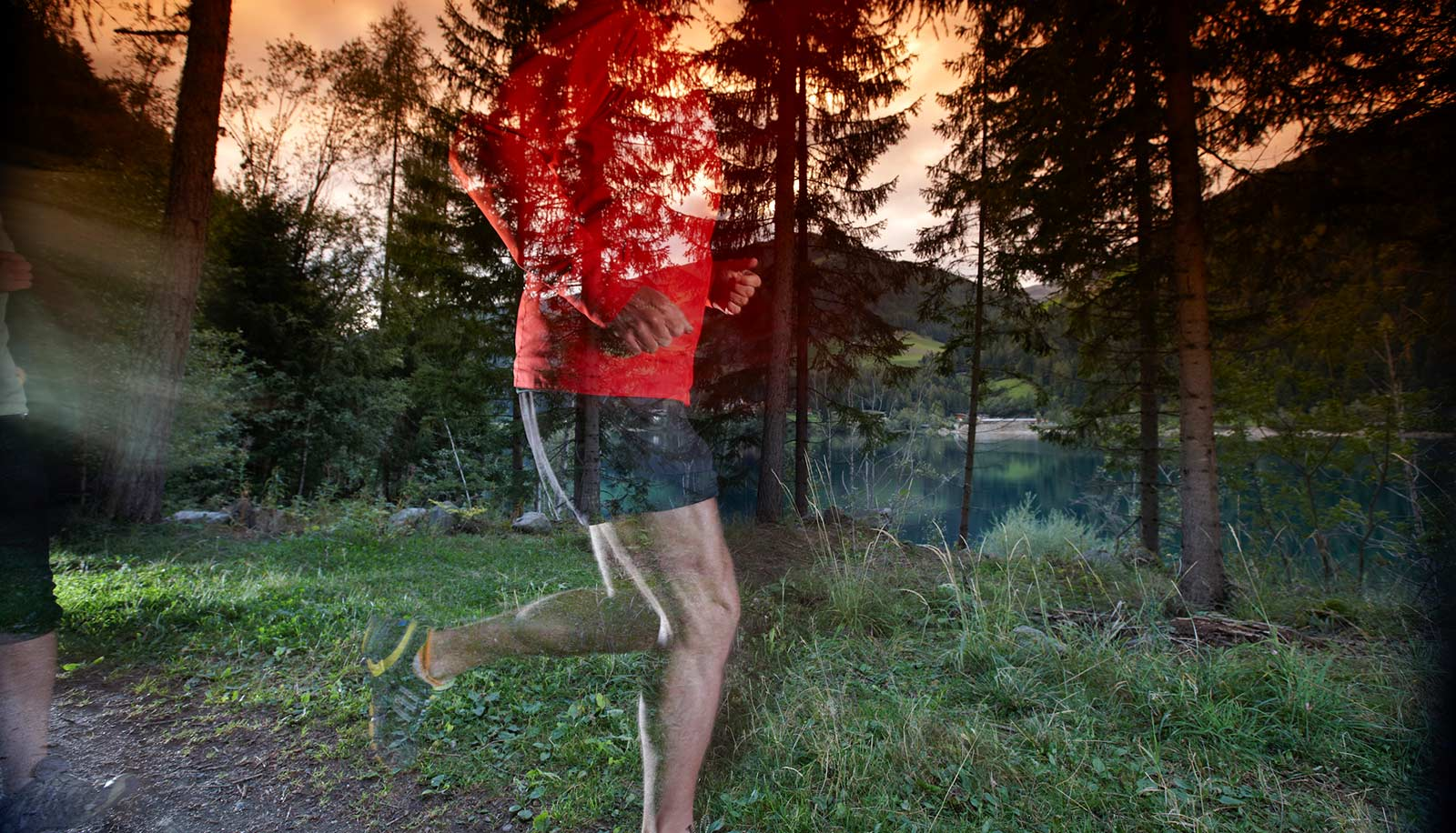 Two images: person jogging in front of woods and a lake in the backgroung