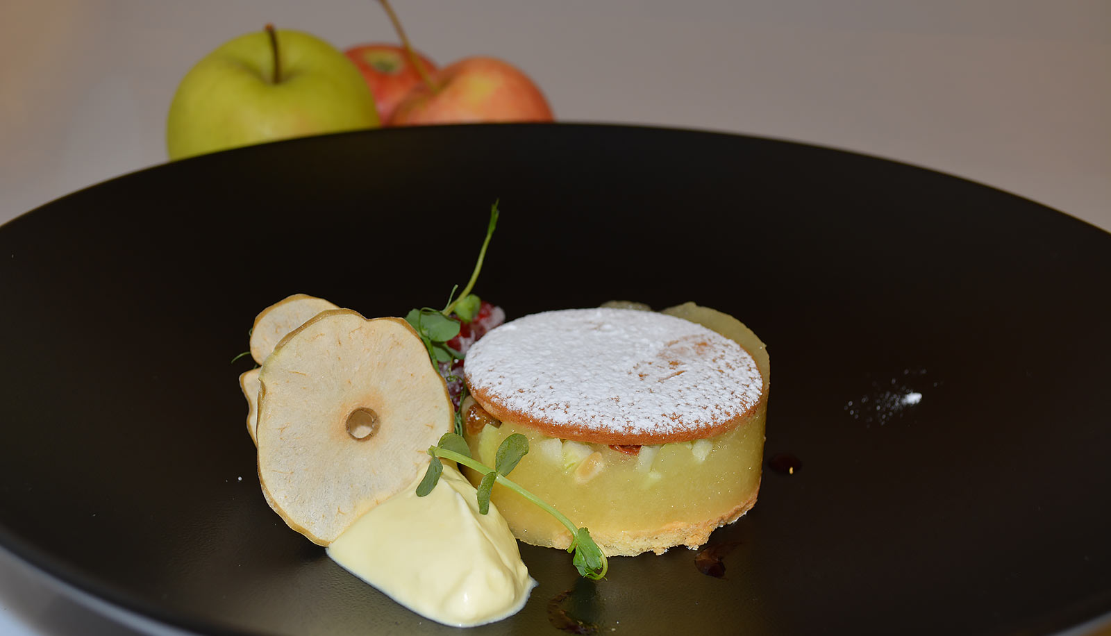 Dessert with apples and ice-cream