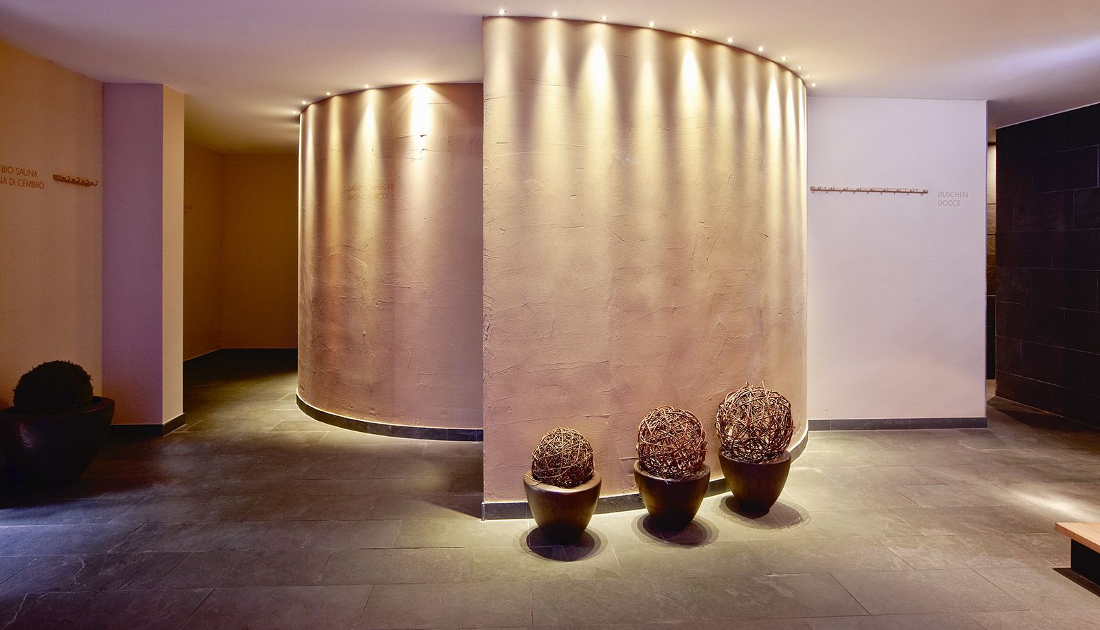Spiral entrance to the wellness area of Arosea Life Balance Hotel in Ultental-Val d'Ultimo