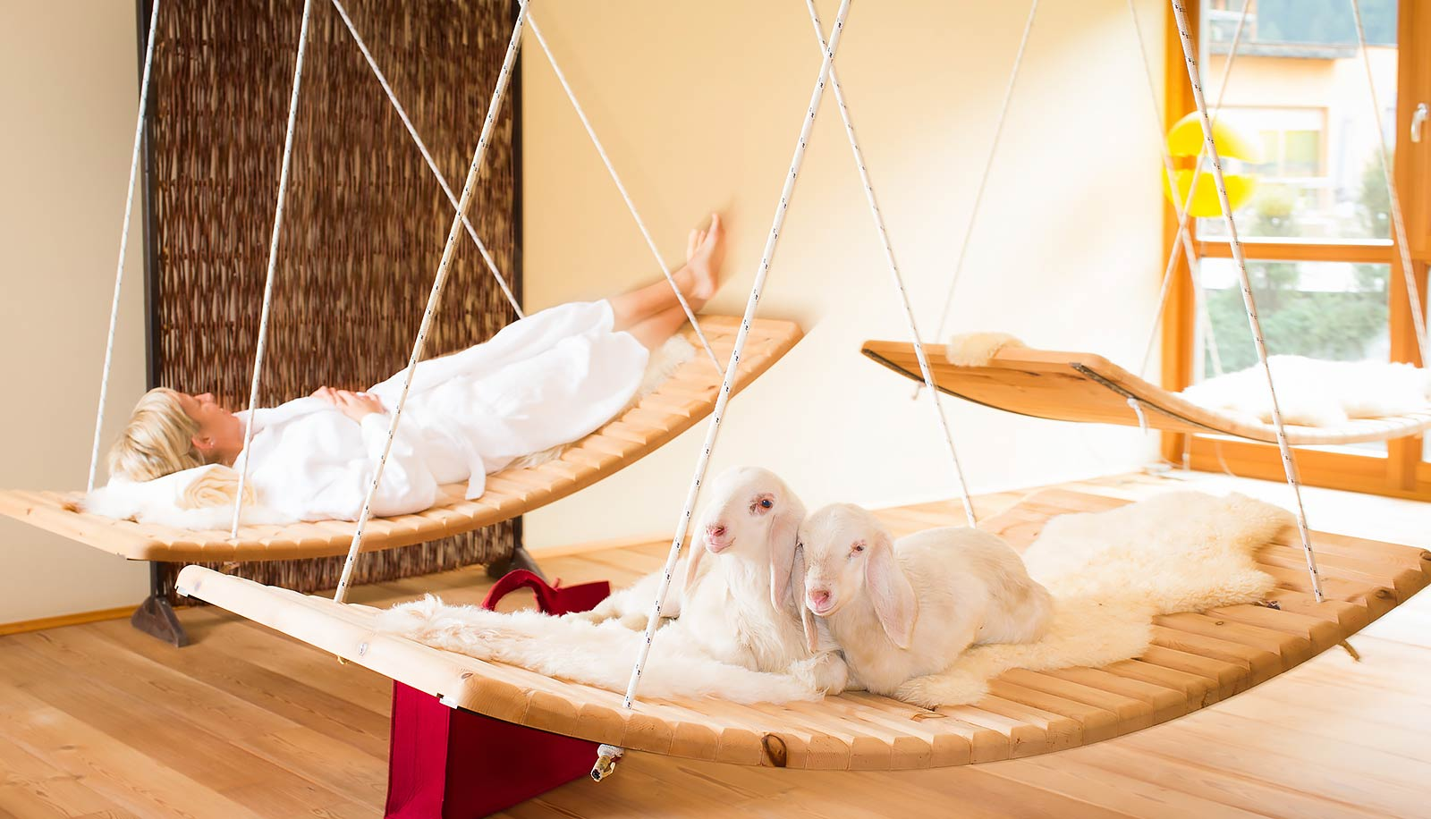 Suspended wooden lounge beds at Arosea Life Balance Hotel in Ultental-Val d'Ultimo in which a woman and two lambs are resting